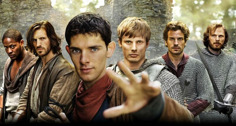MERLIN Tomiwa Edun as Sir Elyan Eoin Macken as Sir Gwaine Colin Morgan as Merlin Bradley James as Arthur Santiago Cabrera as Lancelot Rupert Young as Sir Leon BBC