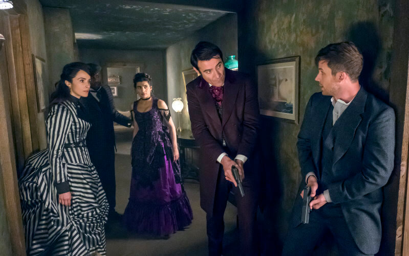 TIMELESS Chinatown 2x10 Malcolm Barrett as Rufus Carlin Abigail Spencer as Lucy Preston Goran Visnjic as Garcia Flynn Matt Lanter as Wyatt Logan Claudia Doumit as Jiya UniversalNBC